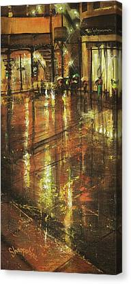 Cold Chicago Rain Canvas Print by Tom Shropshire
