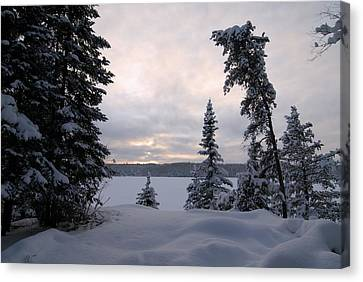 Cold Dawn On Boot Lake Canvas Print by Larry Ricker