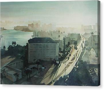 Cold Dawn On Gulf Boulevard Canvas Print by Elizabeth Carr