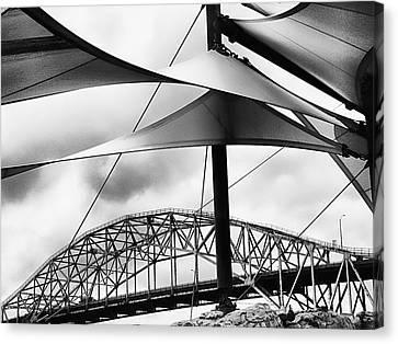 Windy Day At The Corpus Christi Harbor Bridge Canvas Print by Wendy J St Christopher