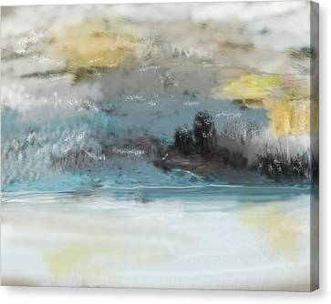 Cold Day Lakeside Abstract Landscape Canvas Print by David Lane