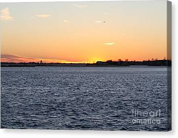 Cold Fall Sunset Over Freeport Ny Canvas Print by John Telfer