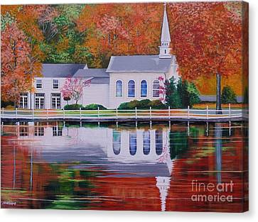 Cold Spring Harbor St Johns Church Canvas Print by Nereida Rodriguez