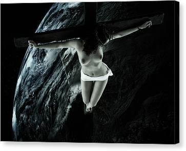 Cold Tellus Crucifix Canvas Print