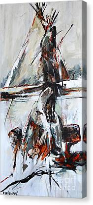 Canvas Print featuring the painting Cold Winter Day by Cher Devereaux