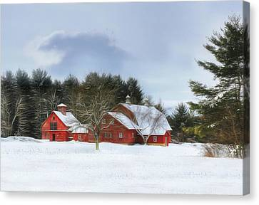Canvas Print featuring the digital art Cold Winter Days In Vermont by Sharon Batdorf