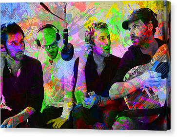 Coldplay Band Portrait Paint Splatters Pop Art Canvas Print by Design Turnpike
