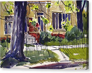 Cole Porters Birthplace, 19 S. Huntington St. Peru In Framed Matted Glassed Canvas Print