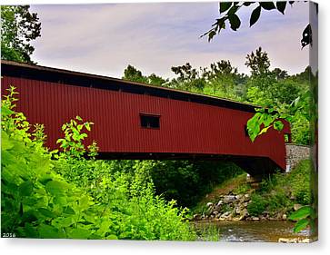 Colemanville Covered Bridge Canvas Print by Lisa Wooten