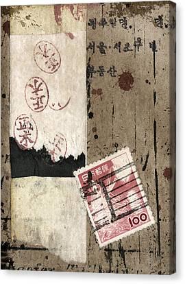 Montage Canvas Print - Collage Envelope Detail Hanko by Carol Leigh