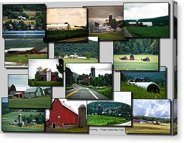 Collage Farming Finger Lakes New York Canvas Print by Thomas Woolworth