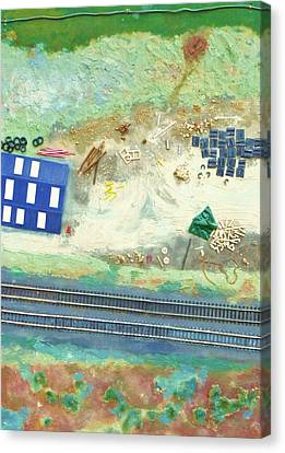 Railroad Yard With Shed From A Hot Air Balloon Canvas Print by Nigel Radcliffe