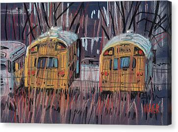 School Bus Canvas Print - Colleagues by Donald Maier