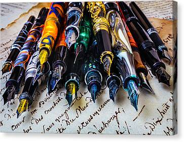 Collection Of Fountain Pens Canvas Print