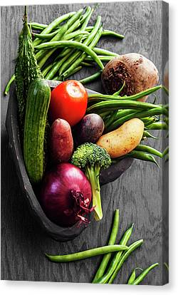 Collection Of Vegetables Still Life With Grey Background Canvas Print