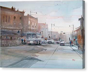 College Avenue - Appleton Canvas Print by Ryan Radke
