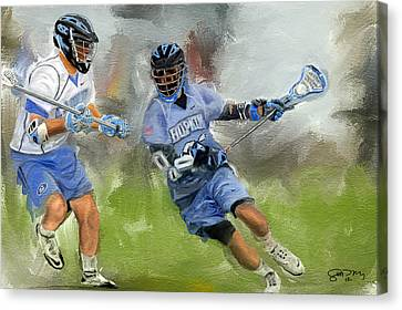 College Lacrosse Attack Canvas Print by Scott Melby