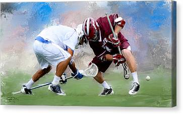 College Lacrosse Faceoff 4 Canvas Print by Scott Melby