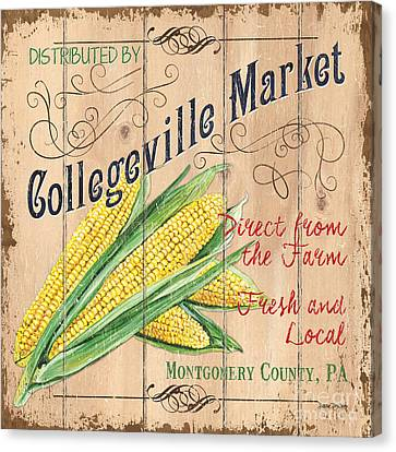 Silk On Canvas Print - Collegeville Market by Debbie DeWitt