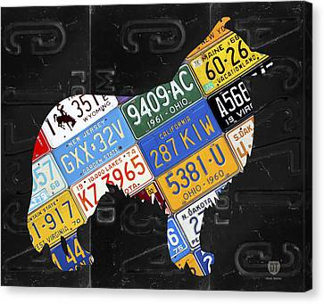 Collie Dog Pet Owner Love Vintage Recycled License Plate Artwork Canvas Print
