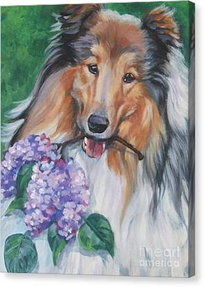 Collie With Lilacs Canvas Print by Lee Ann Shepard