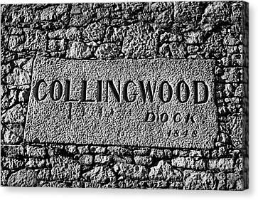 Collingwood Canvas Print - Collingwood Dock Nameplate In The Wall Liverpool Docks Dockland Uk by Joe Fox