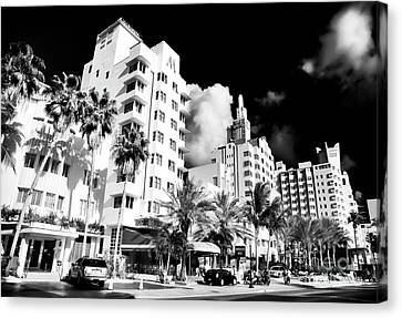 Florida Images Canvas Print - Collins Avenue by John Rizzuto