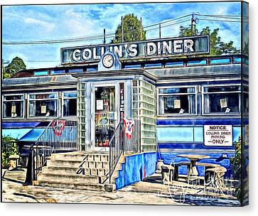 Collin's Diner New Canaan,conn Canvas Print by MaryLee Parker
