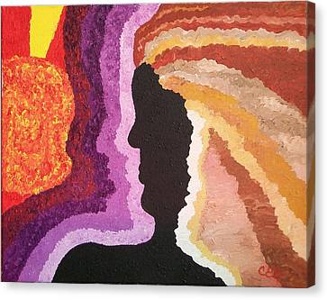 Canvas Print featuring the painting Collision by Carolyn Cable