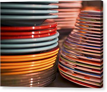 Coloful Stacks Of Plates Canvas Print by Steven Ralser