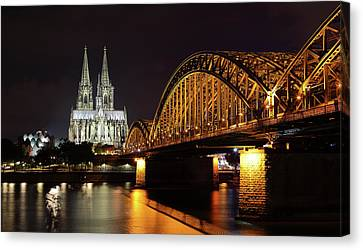 Cologne Cathedral And Bridge Canvas Print by Holger Ostwald