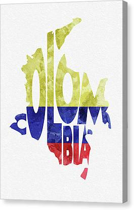 Dirty Canvas Print - Colombia Typographic Map Flag by Inspirowl Design