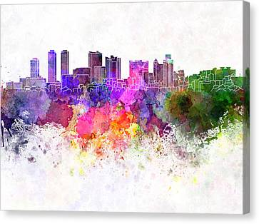 Colombo Skyline In Watercolor Background Canvas Print by Pablo Romero