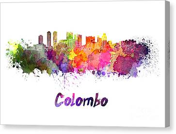 Colombo Skyline In Watercolor Canvas Print by Pablo Romero