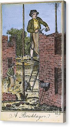 Colonial Man Canvas Print - Colonial Bricklayer, 18th C by Granger