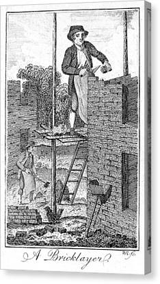 Colonial Man Canvas Print - Colonial Bricklayer by Granger