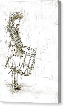 Colonial Drummer Portrait Sketch Canvas Print by Randy Steele