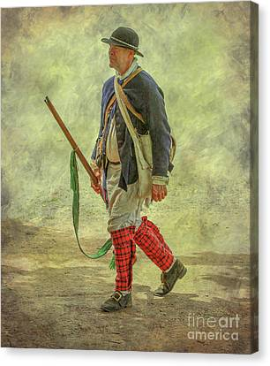 Colonial Militia Scout One Canvas Print by Randy Steele