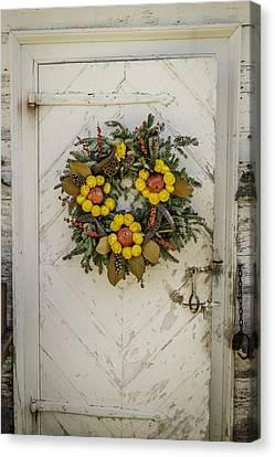 Colonial Nursery Door At Christmas Canvas Print by Teresa Mucha