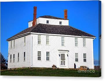 Old Maine Houses Canvas Print - Colonial Pemaquid Fort House by Olivier Le Queinec