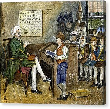 One Room School Houses Canvas Print - Colonial Schoolmaster by Granger