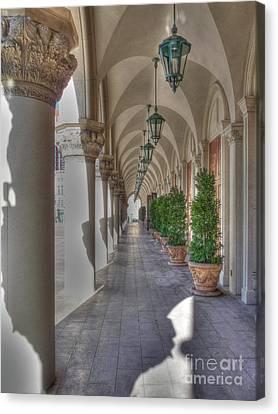 Colonnade At The Venetian Canvas Print by David Bearden