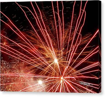 Canvas Print featuring the photograph Color Blast Fireworks #0731 by Barbara Tristan