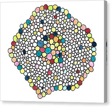 Canvas Print featuring the drawing Color Cells by Jill Lenzmeier