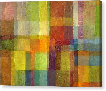 Canvas Print featuring the painting Color Collage With Green And Red 2.0 by Michelle Calkins