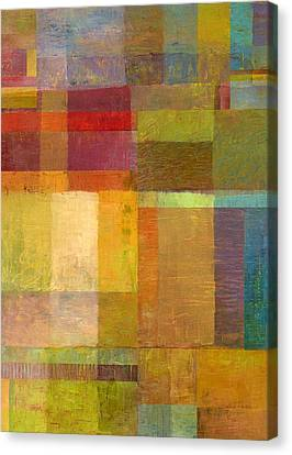Canvas Print featuring the painting Color Collage With Green And Red by Michelle Calkins