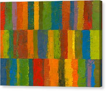 Canvas Print featuring the painting Color Collage With Stripes by Michelle Calkins