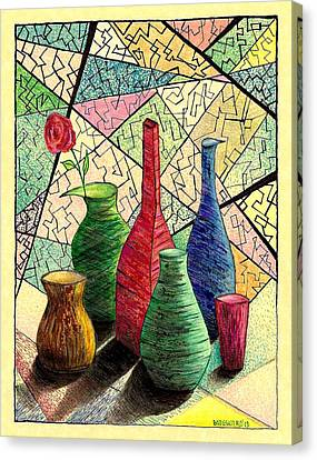 Color Drawing Of Vases With Flower Canvas Print by Mario Perez