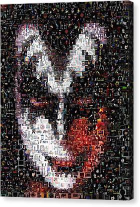 Color Kiss Gene Simmons Mosaic Canvas Print