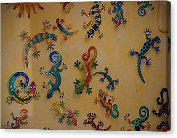 Color Lizards On The Wall Canvas Print by Rob Hans